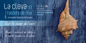 Cartell de les jornades gastronòmiques La Clova 2017 tatets de mar, en les que Les Corones participem, amb la nostra especialitat de peix a la brasa i clova a la planxa.