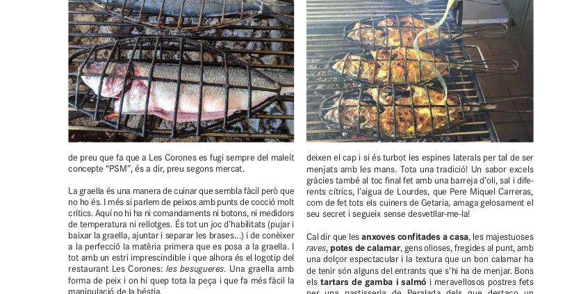 Restaurant Les Corones especialitzat en peix a la brasa a l'Estartit, pioner a la Costa Brava.